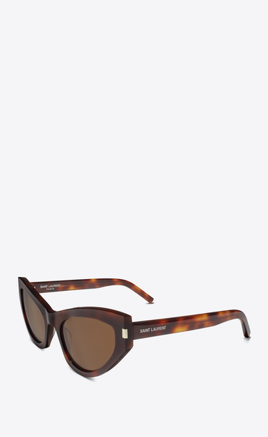 SAINT LAURENT NEW WAVE Woman new wave 215 grace sunglasses in havana acetate with tobacco-colored lenses b_V4