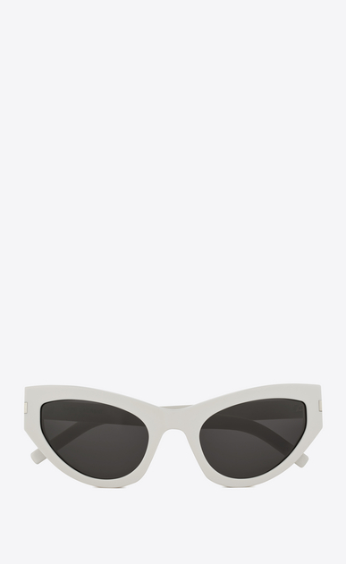 SAINT LAURENT NEW WAVE Woman new wave 215 grace sunglasses in ivory acetate with gray lenses a_V4