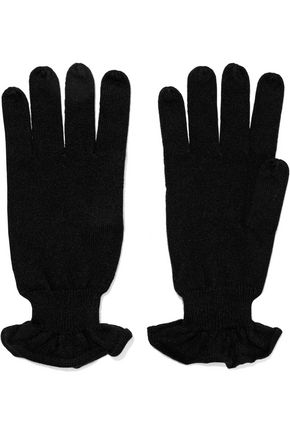AUTUMN CASHMERE Ruffle-trimmed cashmere gloves