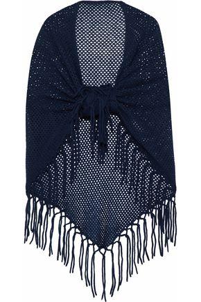 AUTUMN CASHMERE Fringe-trimmed open-knit cashmere wrap