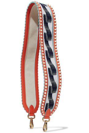 FENDI Leather-trimmed studded woven shoulder strap