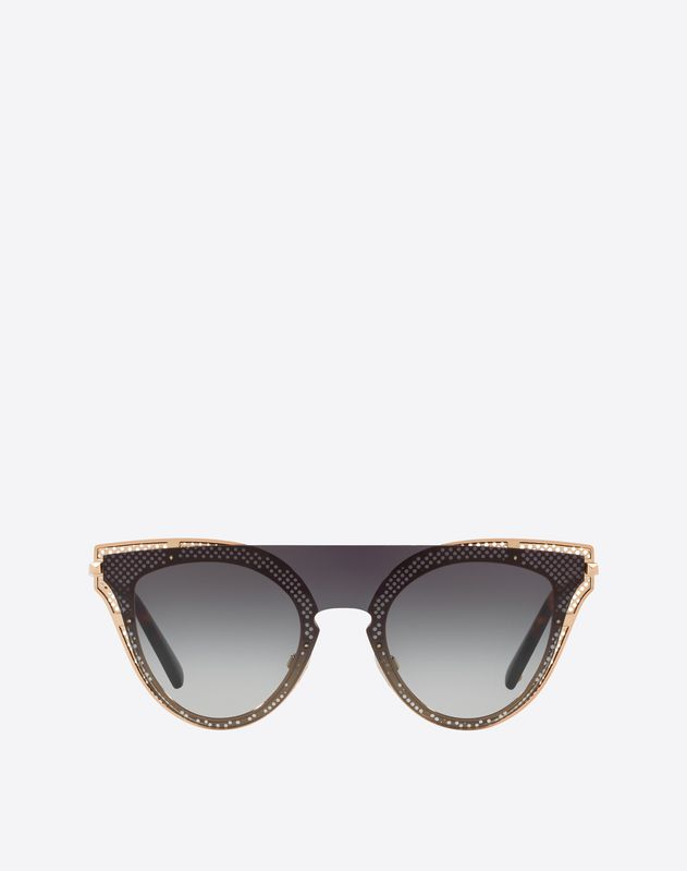 ROIUND CAT-EYE FRAME MESH METAL SUNGLASSES