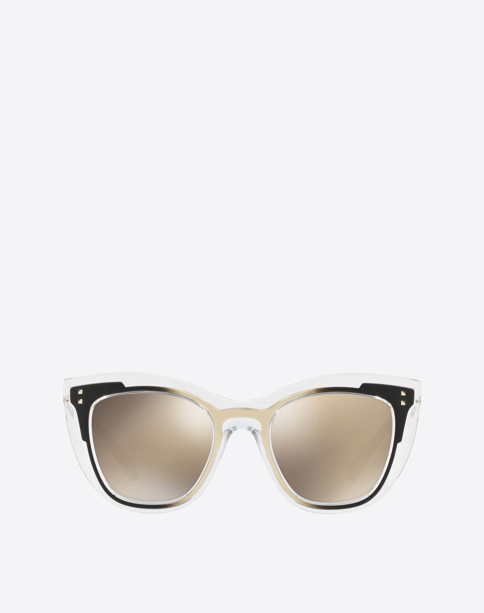 TWO-TONE PEAKED SQUARE FRAME ACETATE SUNGLASSES