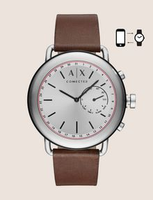 ARMANI EXCHANGE SILVER-TONED HYBRID SMARTWATCH WITH LEATHER BAND Watch E f