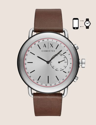 SILVER-TONED HYBRID SMARTWATCH WITH LEATHER BAND