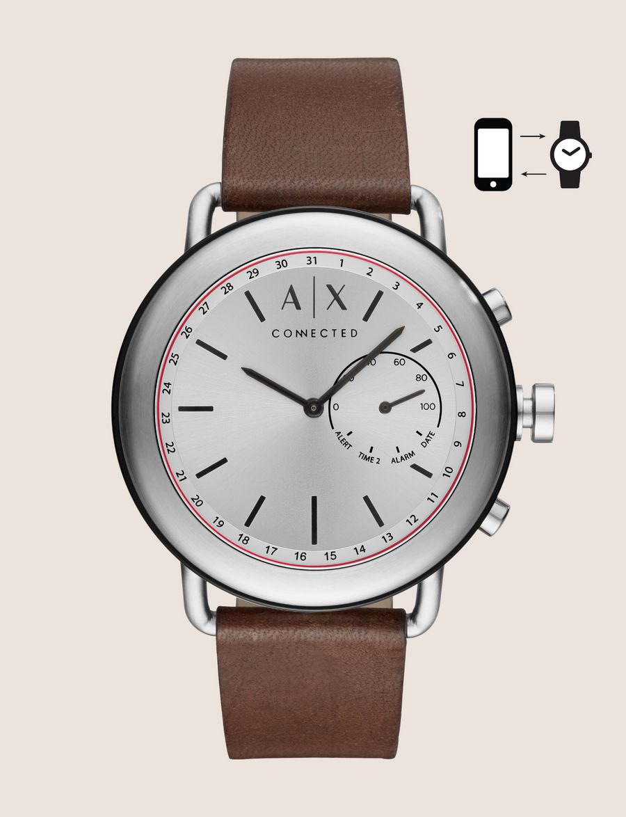3b06356fbb1 ARMANI EXCHANGE SILVER-TONED HYBRID SMARTWATCH WITH LEATHER BAND Hybrid  Watch E f