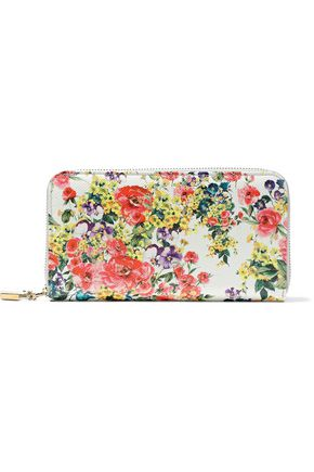 DOLCE & GABBANA Floral-print textured-leather continental wallet