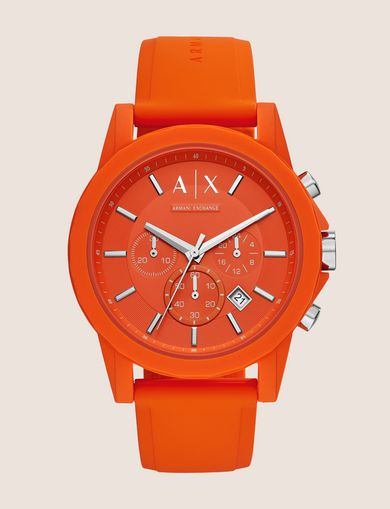 ORANGE CHRONOGRAPH SILICONE BAND WATCH