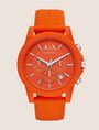 ARMANI EXCHANGE ORANGE CHRONOGRAPH SILICONE BAND WATCH Watch Man f