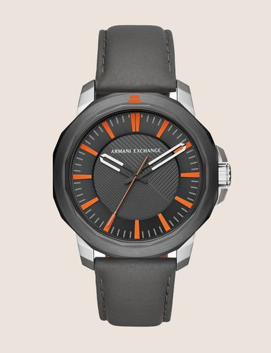 BLACK LEATHER BAND ORANGE ACCENT WATCH