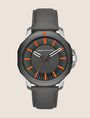 ARMANI EXCHANGE BLACK LEATHER BAND ORANGE ACCENT WATCH Watch Man f