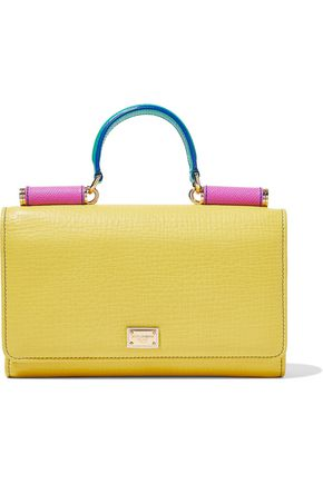 DOLCE & GABBANA Color-block textured leather shoulder bag