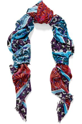 MARY KATRANTZOU Fringed printed modal and cashmere-blend scarf