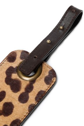 LANVIN Leopard-print calf hair and leather belt