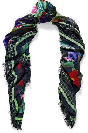 MARY KATRANTZOU Fringed floral-print modal and cashmere-blend scarf