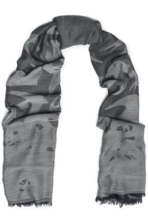 McQ Alexander McQueen Fringed modal and wool-blend jacquard scarf