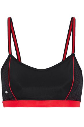 NUYU Mesh-paneled stretch sports bra