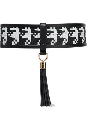 BALMAIN Tasseled two-tone woven leather belt