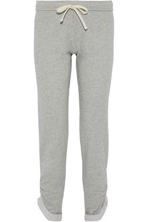 MONROW Ruched cotton-blend terry trackpants