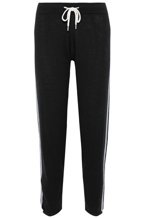 MONROW Striped wool and cotton-blend track pants