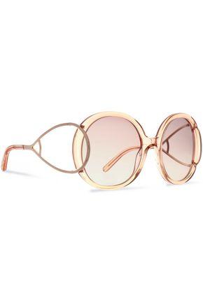 CHLOÉ Round-frame acetate and gold-tone sunglasses