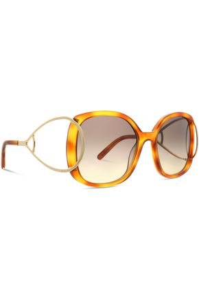 CHLOÉ Square-frame tortoiseshell acetate and gold-tone sunglasses