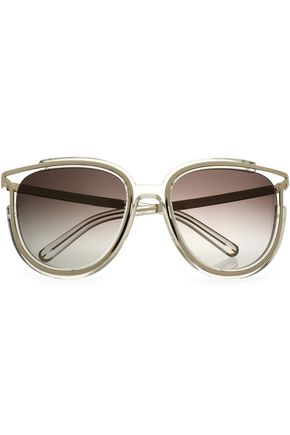 CHLOÉ Aviator-style acetate and gold-tone sunglasses