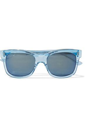 WOMAN SQUARE-FRAME ACETATE AND SILVER-TONE SUNGLASSES BLUE