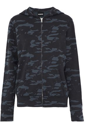 MONROW Printed cotton-terry hooded sweatshirt