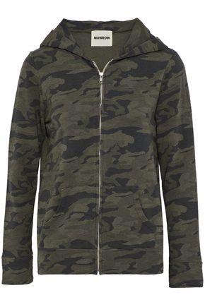 MONROW Printed cotton-blend terry hooded sweatshirt