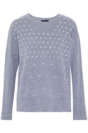 MONROW Studded mélange jersey sweatshirt