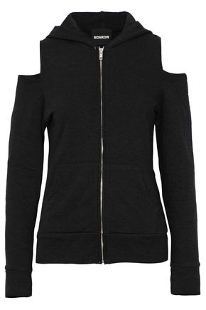 MONROW Cold-shoulder cutout French terry hooded sweatshirt