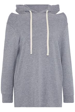 MONROW Cold-shoulder terry hooded sweatshirt