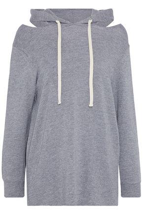 MONROW Cold-shoulder terry hooded sweatshirt