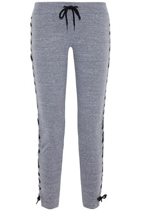 MONROW Lace-up mélange jersey track pants