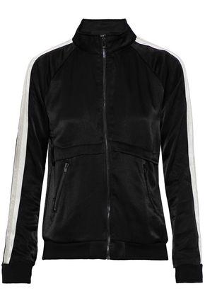 MONROW Striped satin track jacket