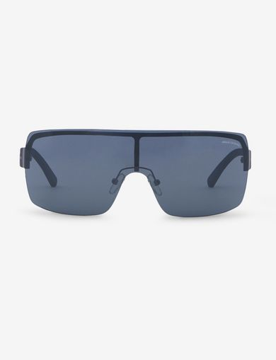 SILVER MIRROR SHIELD SUNGLASSES