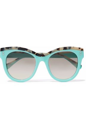WOMAN CAT-EYE TORTOISESHELL ACETATE SUNGLASSES TURQUOISE