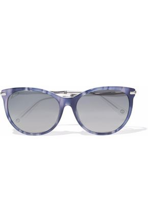 GUCCI Cat-eye printed acetate and silver-tone sunglasses