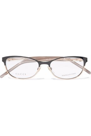 GUCCI Cat-eye printed acetate and gold-tone optical glasses