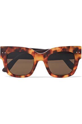 BOTTEGA VENETA Square-frame tortoiseshell acetate and embossed leather sunglasses