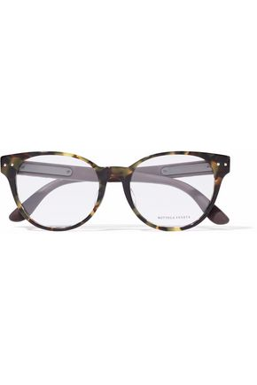 BOTTEGA VENETA Cat-eye quilted leather-trimmed tortoiseshell acetate optical glasses