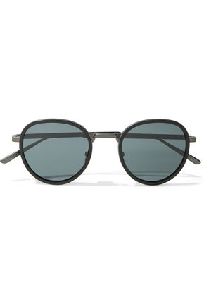 BOTTEGA VENETA Round-frame acetate and gunmetal-tone sunglasses