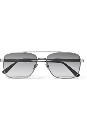 BOTTEGA VENETA Square-frame embossed leather-trimmed oxidized sunglasses