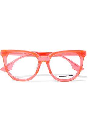 McQ Alexander McQueen Cat-eye printed neon acetate optical glasses