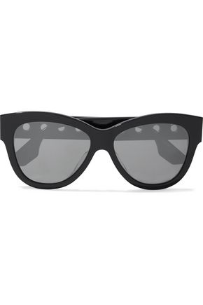 WOMAN CAT-EYE EYELET-EMBELLISHED ACETATE SUNGLASSES BLACK