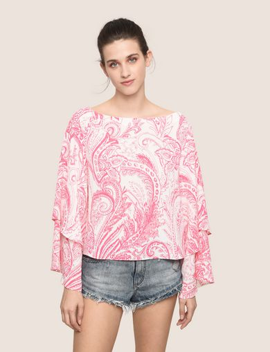 LAYERED BELL-SLEEVE PAISLEY TOP