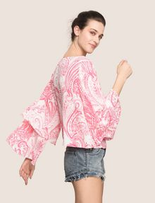 ARMANI EXCHANGE LAYERED BELL-SLEEVE PAISLEY TOP S/L Knit Top Woman a