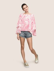 ARMANI EXCHANGE LAYERED BELL-SLEEVE PAISLEY TOP S/L Knit Top Woman d