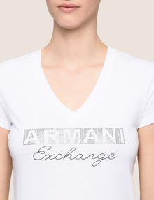 ARMANI EXCHANGE STUDDED AND STITCHED V-NECK TEE Logo T-shirt Woman b
